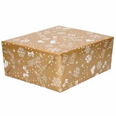 1x rollen kerst inpakpapier/cadeaupapier goud/zilver 2,5 x 0,7 meter