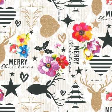 1x rollen kerst inpakpapier/cadeaupapier kitsch wit/gekleurd 2,5 x 0,7 meter