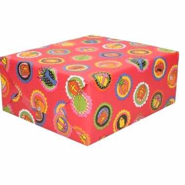 1x rollen sinterklaas inpakpapier/cadeaupapier rood 2,5 x 0,7 meter