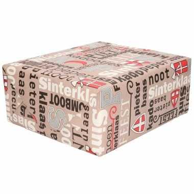 1x rollen sinterklaas inpakpapier/cadeaupapier taupe/rood 2,5 x 0,7 meter