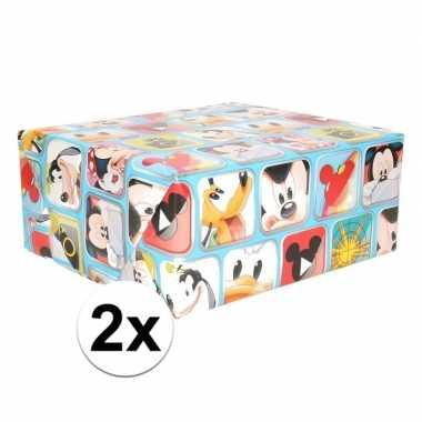 2x disney inpakpapier mickey mouse blauw 200 x 70 cm op rol