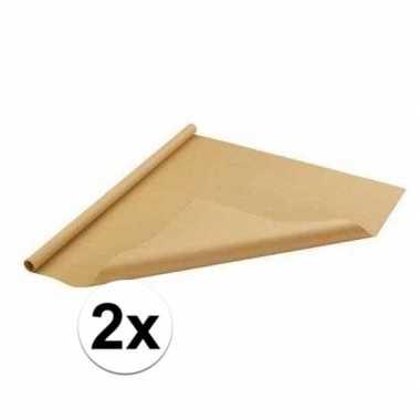 2x inpakpapier bruin 500 x 70 cm op rol