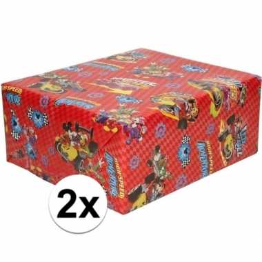 2x inpakpapier/cadeaupapier disney mickey mouse 200 x 70 cm rood