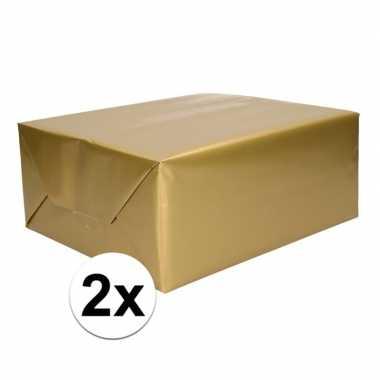 2x inpakpapier/cadeaupapier goud 200 x 70 cm op rol