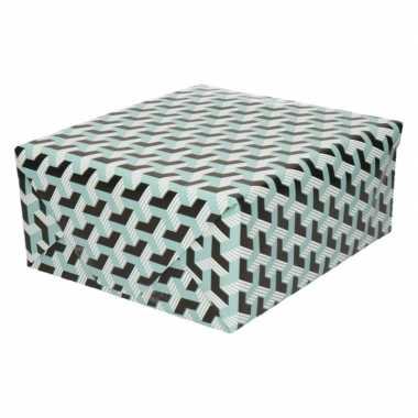 2x inpakpapier/cadeaupapier grafisch 200 x 70 cm zwart/blauw