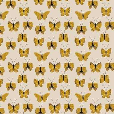 2x inpakpapier/cadeaupapier vlinder 200 x 70 cm beige/geel