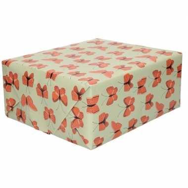 2x inpakpapier/cadeaupapier vlinder 200 x 70 cm groen/rood