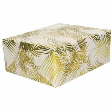 2x inpakpapier/cadeaupapier wit/goud palmbomen print 150 x 70 cm