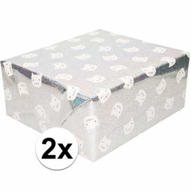 2x inpakpapier/cadeaupapier zilver poes/kat 200 x 70 cm op rol