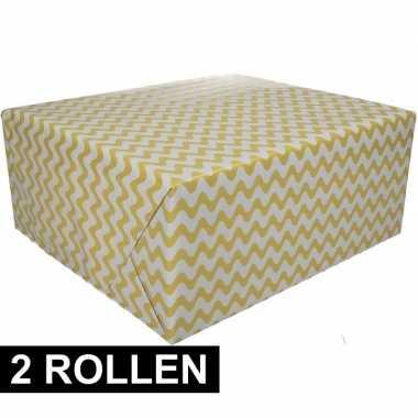 2x inpakpapier grafisch geel 200 x 70 cm op rol