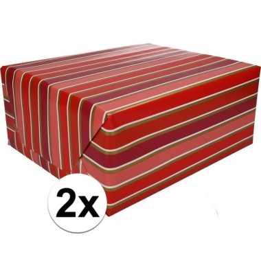 2x inpakpapier met strepen 200 x 70 cm op rol type 7