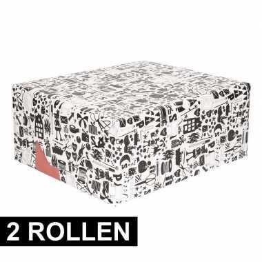 2x inpakpapier van sinterklaas zwart/wit