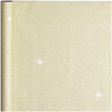 2x stuks cadeaupapier/inpakpapier goud met glitters 400 x 70 cm