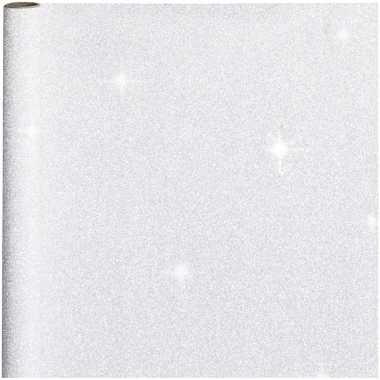 2x stuks cadeaupapier/inpakpapier zilver met glitters 400 x 70 cm