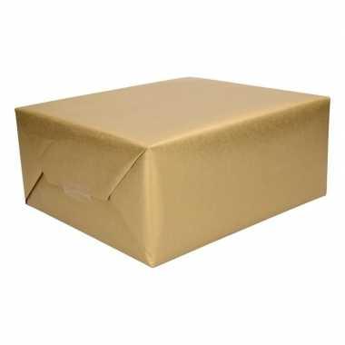3 rollen cadeaupapier/inpakpapier goud 500 x 50 cm op rol