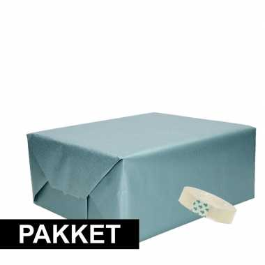 3x blauw kraft inpakpapier met rolletje plakband pakket 9