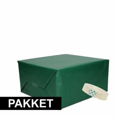 3x donkergroen kraft inpakpapier met rolletje plakband pakket 10