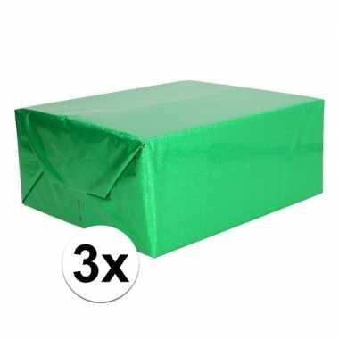 3x holografische groen metallic folie / inpakpapier 70 x 150 cm