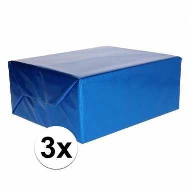 3x holografische metallic blauw folie / inpakpapier 70 x 150 cm