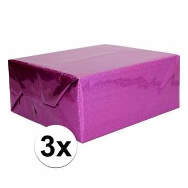 3x holografische paars metallic folie / inpakpapier 70 x 150 cm