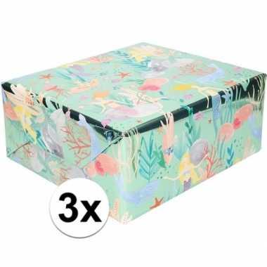 3x inpak/cadeaupapier metallic blauw/groen zeemeermin 150 x 70cm