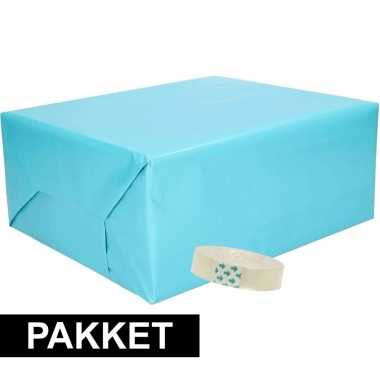 3x inpakpapier aqua met rolletje plakband
