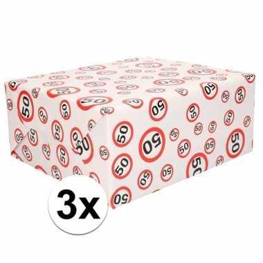 3x inpakpapier/cadeaupapier 50 jaar 300 x 70 cm op rol