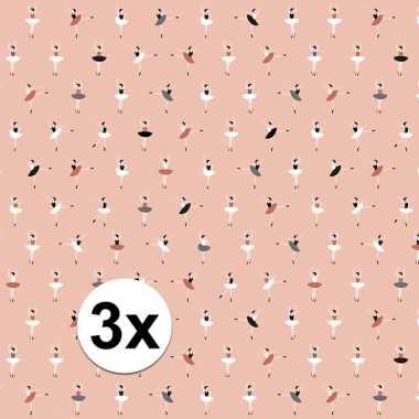 3x inpakpapier/cadeaupapier ballerina 200 x 70 cm roze