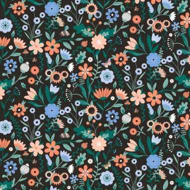 3x inpakpapier/cadeaupapier bloemen 200 x 70 cm zwart/gekleurd