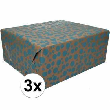 3x inpakpapier/cadeaupapier bruin/blauwe stippen 200 x 70 cm rol