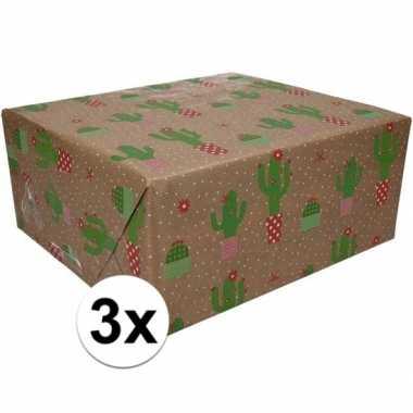 3x inpakpapier/cadeaupapier bruin/cactussen 200 x 70 cm op rol