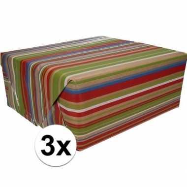 3x inpakpapier/cadeaupapier bruin/gekleurde strepen 200 x 70 cm