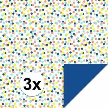 3x inpakpapier/cadeaupapier confetti 200 x 70 cm gekleurd