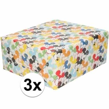 3x inpakpapier/cadeaupapier disney mickey mouse 200 x 70 cm