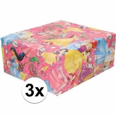 3x inpakpapier/cadeaupapier disney princess 200 x 70 cm roze