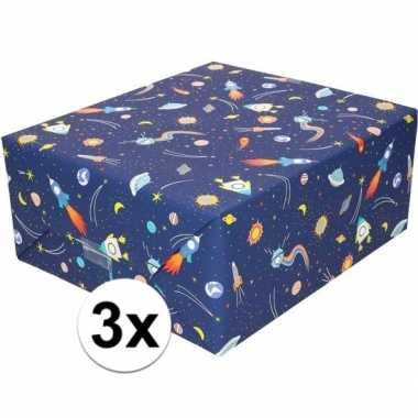 3x inpakpapier/cadeaupapier donkerblauw raketten 200 x 70 cm rol