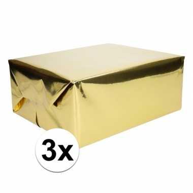 3x inpakpapier/cadeaupapier goud metallic 400 x 50 cm op rol