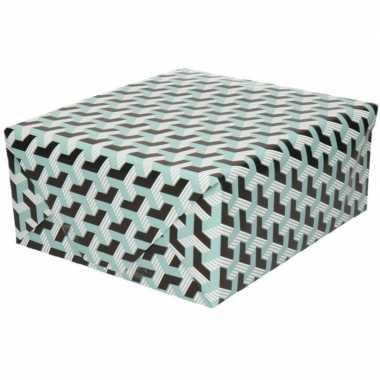3x inpakpapier/cadeaupapier grafisch 200 x 70 cm zwart/blauw