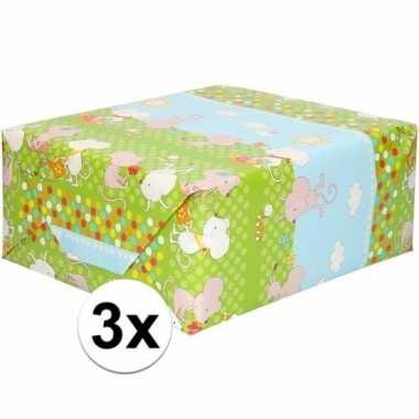 3x inpakpapier/cadeaupapier groen met muizen print 200 x 70 cm