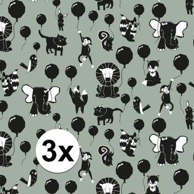 3x inpakpapier/cadeaupapier happy animals 200 x 70 cm