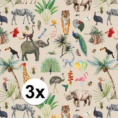 3x inpakpapier/cadeaupapier jungle 200 x 70 cm