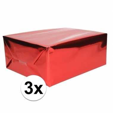 3x inpakpapier/cadeaupapier rood metallic 400 x 50 cm op rol