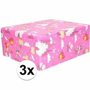 3x inpakpapier/cadeaupapier roze elfjes thema 200 x 70 cm op rol