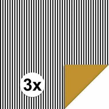 3x inpakpapier/cadeaupapier streepjes 200 x 70 cm zwart/wit