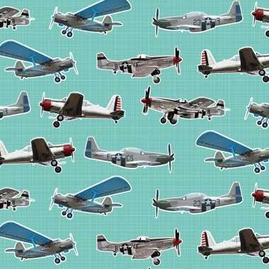 3x inpakpapier/cadeaupapier vliegtuigen 200 x 70 cm mintgroen