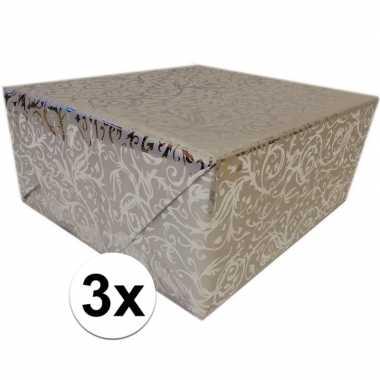 3x inpakpapier/cadeaupapier zilver klassiek design 150 x 70 cm