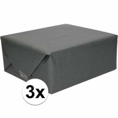 3x inpakpapier/cadeaupapier zwart kraftpapier 200 x 70 cm rollen