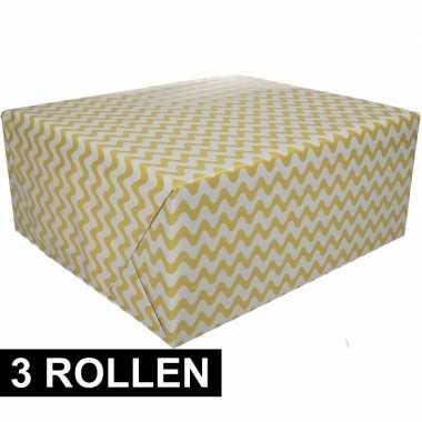 3x inpakpapier grafisch geel 200 x 70 cm op rol
