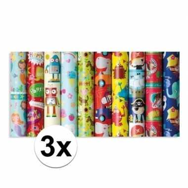 3x inpakpapier kinder verjaardag met olifanten 200 x 70 cm