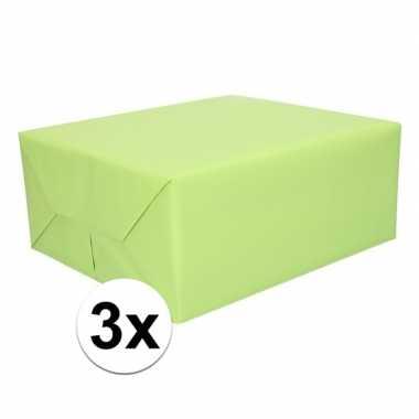 3x inpakpapier lichtgroen 200 x 70 cm op rol